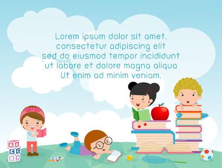 school: back to school, kids school, education concept, Kids go to school, Template for advertising brochure, your text ,Kids and frame,child and frame,Vector Illustration, Cute cartoon happy children. Illustration
