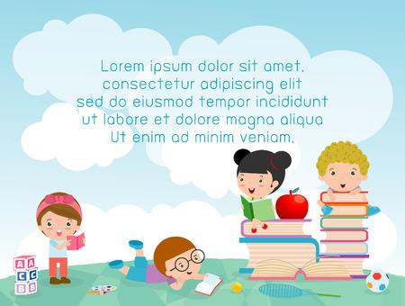 niño escuela: de nuevo a escuela, escuela de los niños, el concepto de la educación, los niños van a la escuela, la plantilla para el folleto publicitario, el texto, los niños y el marco, los niños y el marco, ilustración vectorial, los niños felices lindos de la historieta.