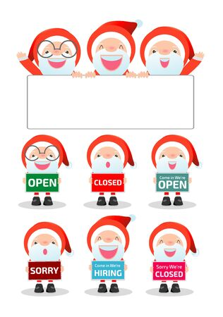 close: Merry Christmas. Santa Claus holding signs, open, closed, sorry, hiring, Santa showing placard board isolated on white background, happy new year. vector illustration cartoon flat