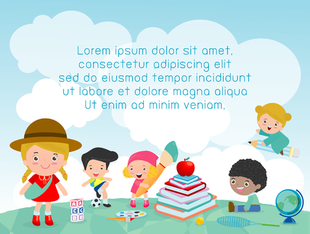 back to school, kids school, education concept, Kids go to school, Template for advertising brochure, your text ,Kids and frame,child and frame,Vector Illustration, Cute cartooen happy children. Ilustração