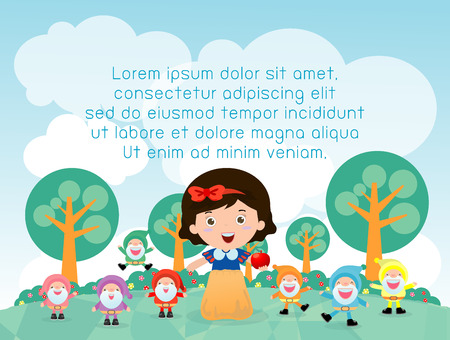 dwarfs: snow white and the seven dwarfs,Template for advertising brochure,your text ,tale for Childrens, Kids and frame,Vector Illustration Illustration
