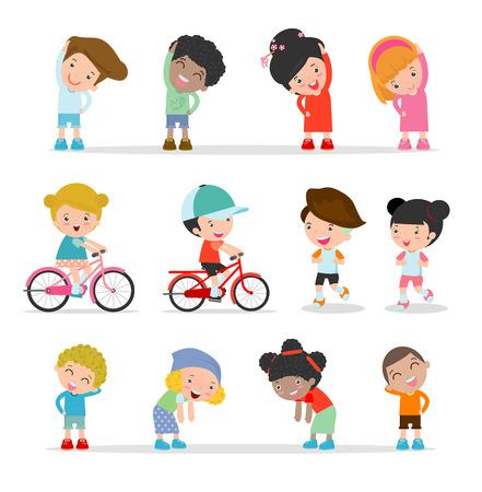 cute cartoon kids: Kids exercising, children stretching ,child exercising , happy Kids Exercising, flat cute cartoon design illustration. Illustration