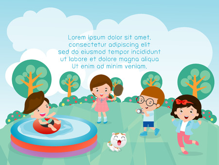 kids at playground,children in the playground, Kids with toys, Template for advertising brochure, child character, Vector Illustration Ilustração