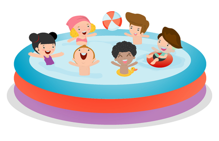 flotation: Kids in a Swimming Pool, children for summer season. Kid inflatable pool, child swimming in the pool, Vector Illustration