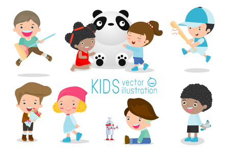 kinder garden: happy kids with toys, children play with toys, cute kids playing with toys, child with toys,kids at playground on white background, Happy children playing, kids time, kid toys, child toy, Illustration
