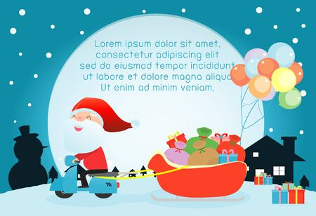 december holidays: Merry Christmas, Santa Claus,Template for advertising brochure,your text ,Santa Claus and frame,Happy new year,card vector Illustration