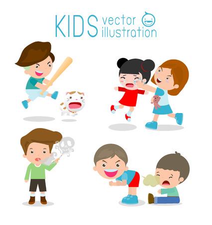 Mal comportamiento niños, chico malo, mala muchacha, El mal del niño en el fondo blanco. Ilustración del vector