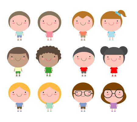 americas: Set of diverse kids isolated on white background. Different nationalities styles. European, Americas, Asian ,African,happy kids Vector Illustration