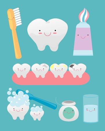 enjuague bucal: conjunto de dientes gracioso que consisten en pasta de dientes, cepillo de dientes, dientes, hilo dental, enjuague bucal, en la ilustración de background.Vector. Vectores