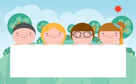 students group: kids peeping behind placard, Cute little children on background,Vector Illustration