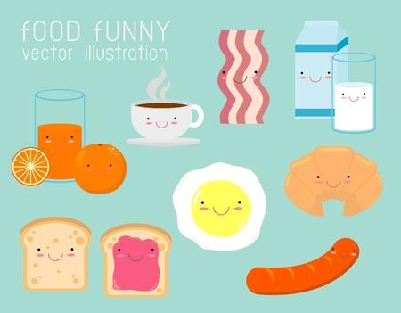 Ensemble de petit-déjeuner drôle, personnages de dessin animé drôles de nourriture sur fond, illustration vectorielle