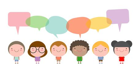 Cute kids with speech bubbles, Set of diverse children and Different nationalities with speech bubbles isolated on white background, Kids go to school with speech balloon, Vector Illustration Illustration
