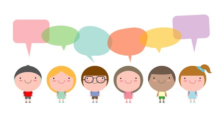 nationalities: Cute kids with speech bubbles, Set of diverse children and Different nationalities with speech bubbles isolated on white background, Kids go to school with speech balloon, Vector Illustration Illustration