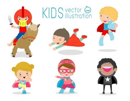 Superheld Kinder mit Kostümen gesetzt, Superheld Kinder Kostüm Zeichen isoliert auf weißem Hintergrund, Held Junge und Mädchen Illustration