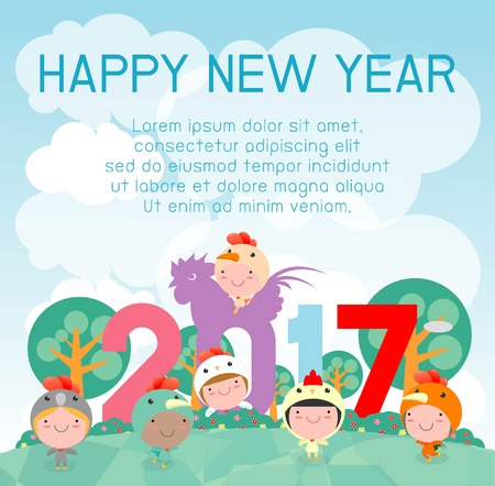 plain: Happy New Year 2017 kids background, happy child with Happy new year 2017, rooster, Colorful Vector Illustration Illustration