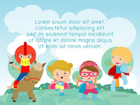 kinder garden: superhero kids playing outside, Template for advertising brochure,your text, child and frame,Vector Illustration
