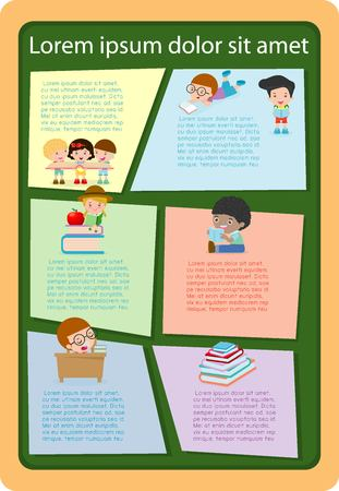 text books: cute kids reading books, Template for advertising brochure,your text, ready for your message. Vector illustration