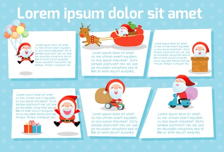 Merry christmas Santa Clauses Collection Template for advertising brochure,your text, ready for your message. Vector illustration