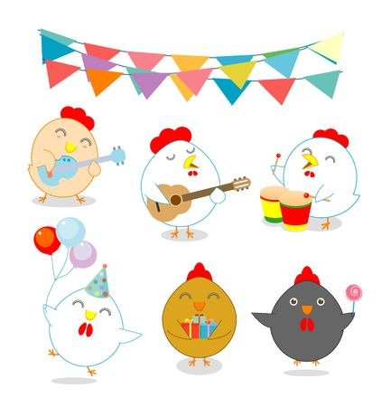 brood: set of party chicken, rooster,cock, hen, chick, brood, flapper, juvenile, squab, Vector illustration