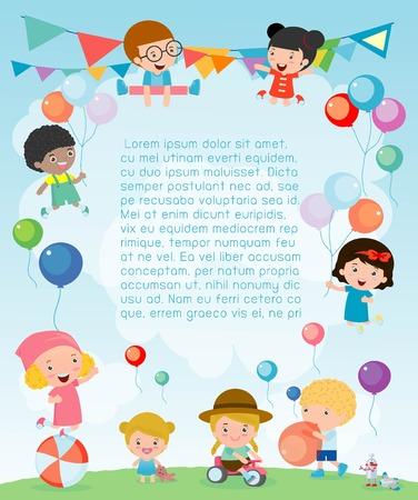 Scherza il partito, felice anno nuovo su giochi, felice bambini partito celebrazione Template per la brochure pubblicitaria. Pronto per il testo, illustrazione vettoriale Archivio Fotografico - 68581763