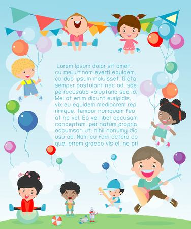 Kids Party, happy new year on playground, children happy party celebration Template for advertising brochure. Ready for your text, Vector illustration Stock Illustratie