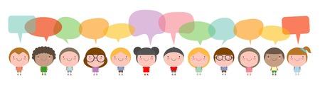 Bambini carini con bolle di discorso, insieme di diversi bambini e diverse nazionalità con bolle di discorso isolato su sfondo bianco Archivio Fotografico - 68581768