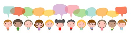 pre adolescent child: Cute kids with speech bubbles, Set of diverse Kids and Different nationalities with speech bubbles isolated on white background Illustration