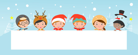 blank banner: kids peeping behind placard, children and greeting Christmas and New Year card, boy and girl in Christmas costume characters celebrate,happy new year, Illustration
