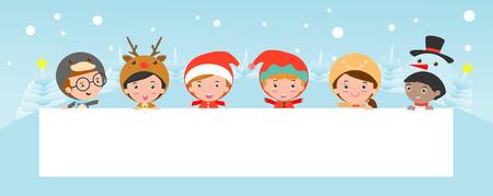 niños con pancarta: niños que mira furtivamente detrás de cartel, niños y tarjeta de felicitación de Navidad y Año Nuevo, chico y chica en navidad los caracteres del traje celebran, feliz año nuevo,