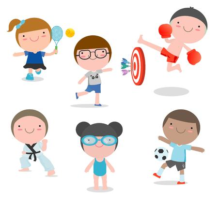 kids and sport, Kids playing various sports on white background,swimming, boxing, football, tennis, karate, Darts, Vector illustration