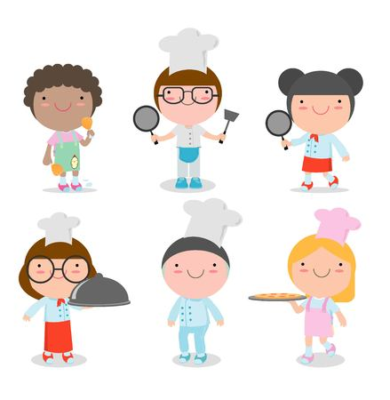 Cute Kids Chef on white background, set of Children Cooking, child chef cute,Vector illustration