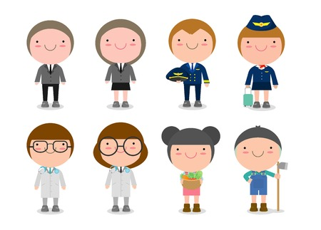 Childrens dream jobs, professions in dream for kids, Happy children in work wear. Vector illustration
