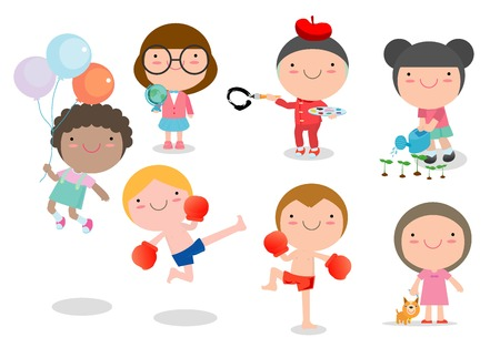 Niños de dibujos animados feliz jugando, los niños jugando en el fondo blanco, ilustración vectorial Ilustración de vector