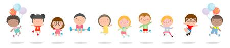 Los niños que saltan con alegría, están exentos de salto feliz, feliz de dibujos animados niño jugando en el fondo blanco, ilustración vectorial