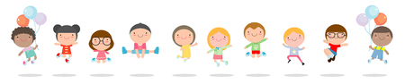 Kids jumping with joy , happy jumping childern, happy cartoon child playing on white background , Vector illustration