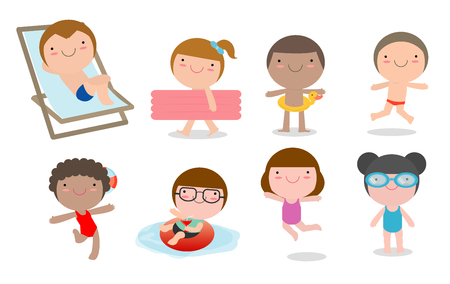 game of pool: set of Kids in a Swimming Pool, children for summer season. kids playing on the beach and swimming in the pool, Vector Illustration
