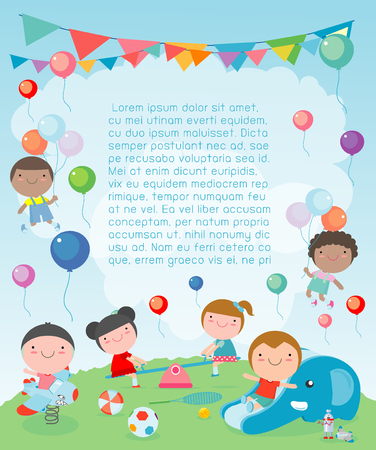 children in the playground, Template for advertising brochure, kids at playground, your text ,Kids and frame,child and frame,Vector Illustration