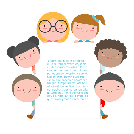 kids peeping behind placard, Cute little children on white background,Vector Illustration