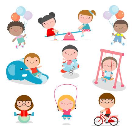 jardin de infantes: cute los niños jugando con juguetes en el parque infantil, niños en el parque en el fondo blanco, ilustración vectorial. Vectores