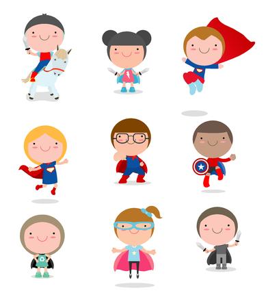 I bambini con costumi Superhero set, i bambini in caratteri costume da supereroe isolato su sfondo bianco, piccola collezione Carino Supereroe per bambini, Supereroe bambini, Supereroe bambini. Archivio Fotografico - 69427273