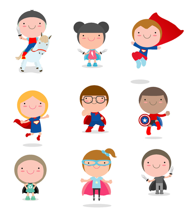 Kids Met superherokostuums ingesteld, kinderen in Superhero kostuum tekens op een witte achtergrond, Schattige kleine Superhero Children's collectie, Superhero Children's, Superhero Kids. Stockfoto - 69427273