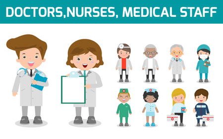 set of doctor,nurses,medicine staff in flat style isolated on white background. Hospital medical staff team doctors nurses surgeon, Vector illustration.