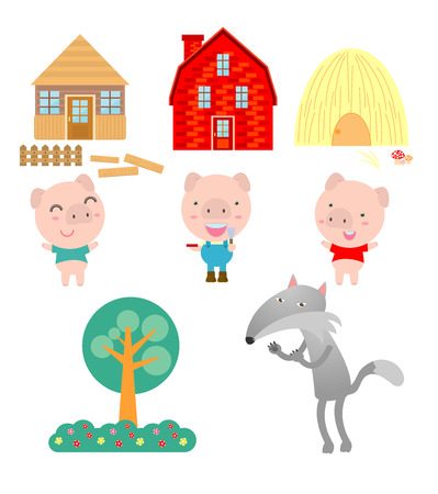 Three little pigs on white background,vector illustration