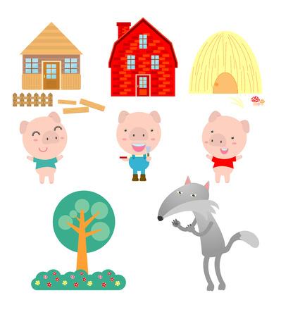 Tres pequeños cerdos en el fondo blanco, ilustración vectorial Ilustración de vector