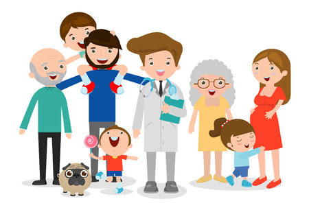 Family doctor vector illustration, big family with doctor. Doctor standing together with father, mother, children and grandparents on white background. flat style Vettoriali