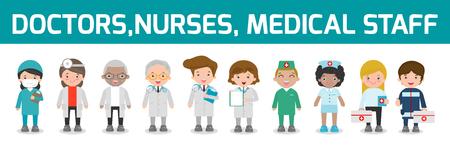 set of doctor,nurses,medicine staff in flat style isolated on white background. Hospital medical staff team doctors nurses surgeon, Vector illustration.