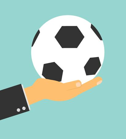 soccer field: soccer manager hand holding football on background, Vector Illustration