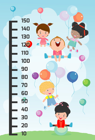 Meter wall with children playing. vector illustration.