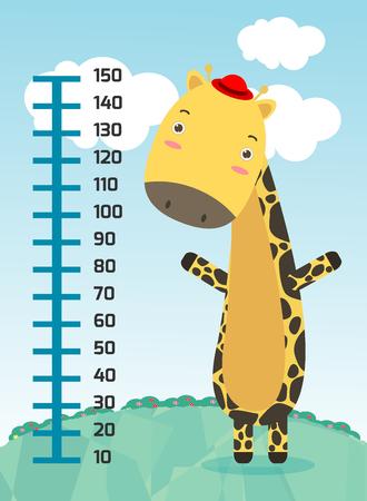 pediatric: Meter wall with giraffe. vector illustration. Illustration