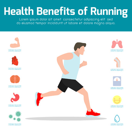 Man Running . Benefits of jogging, exercise, sport. Healthy fitness,lifestyle,infographics, workout concept. Ilustração